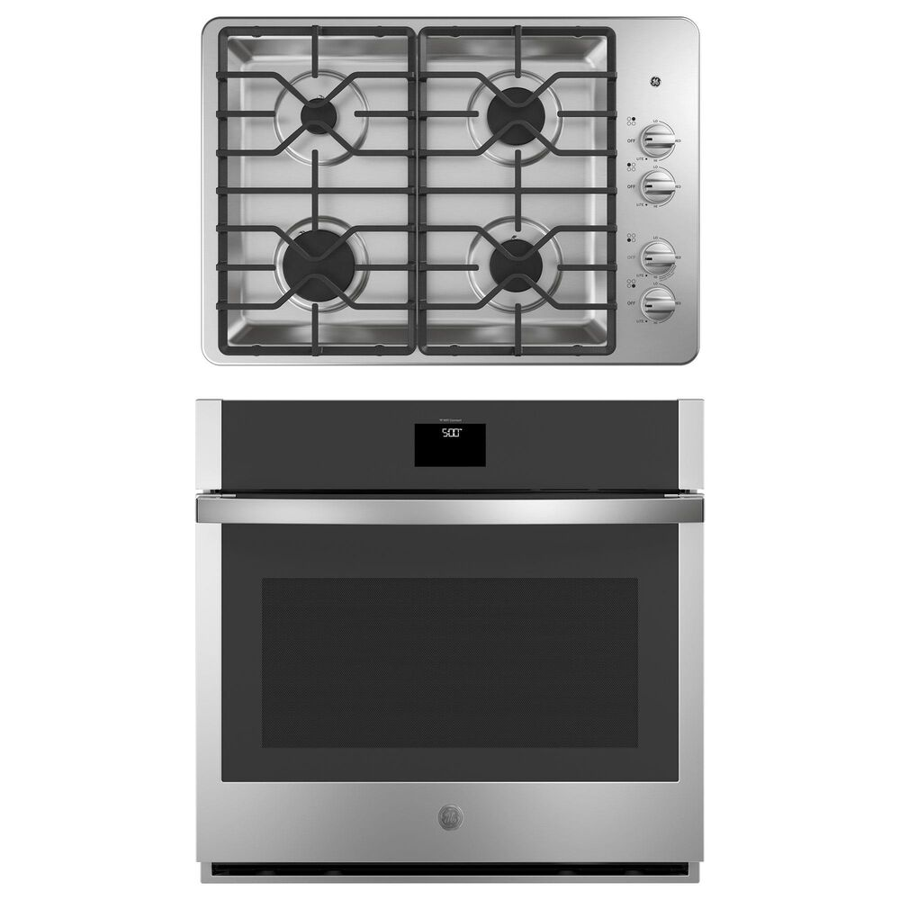 """GE Appliances 2-Piece Kitchen Package with 30"""" Gas Cooktop and Convection Single Wall Oven in Stainless Steel, , large"""
