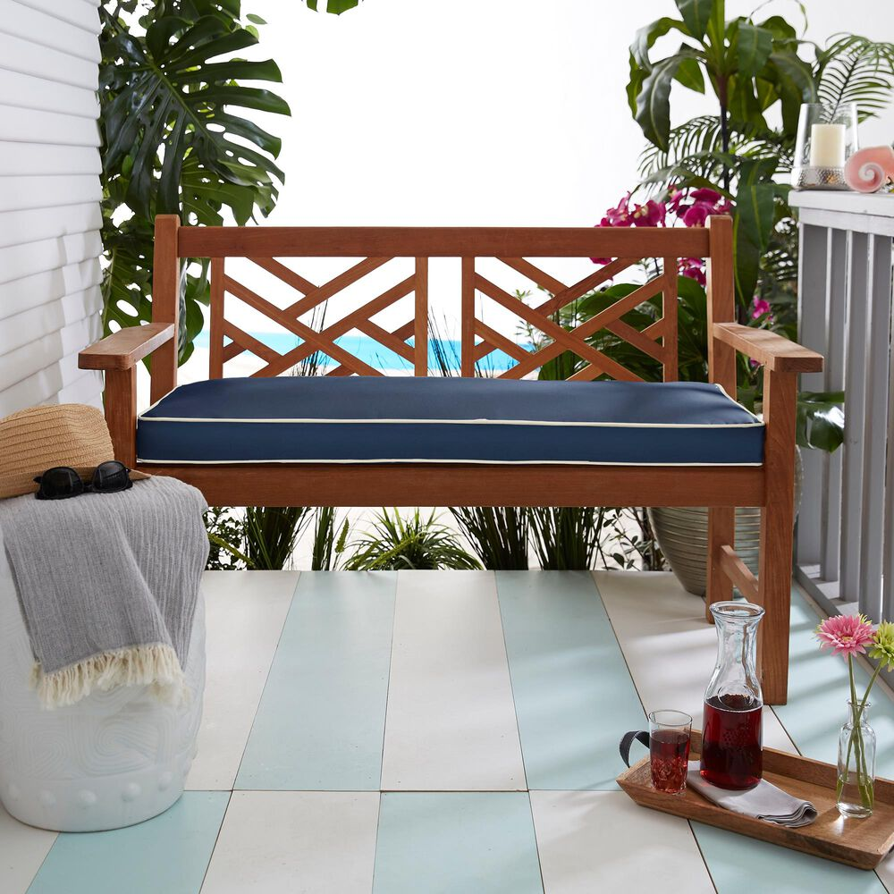 """Sorra Home Sunbrella 48"""" x 19"""" Bench Cushion in Canvas Navy with White Accents, , large"""