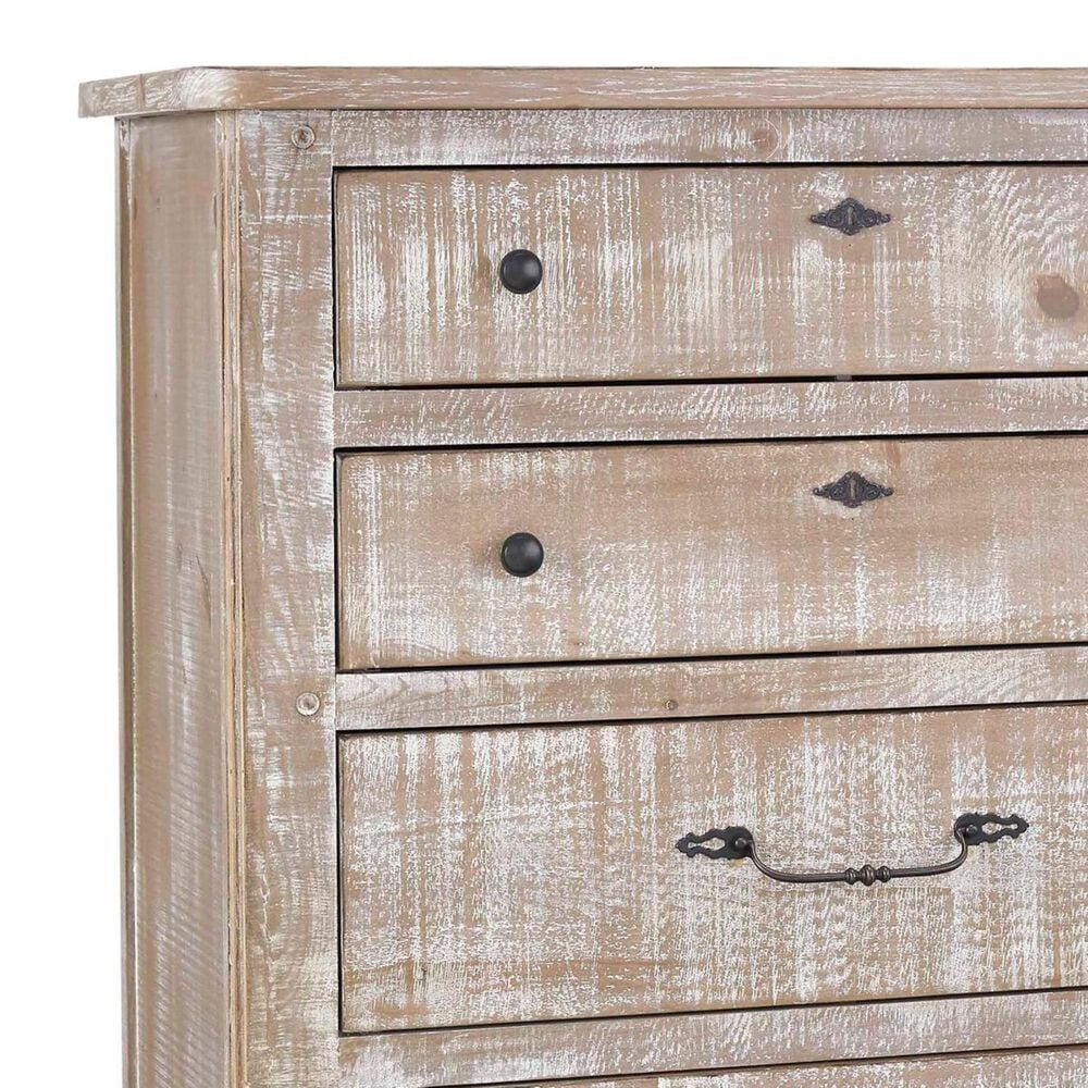 Tiddal Home Chatsworth 5 Drawer Chest in Chalk Distressed, , large