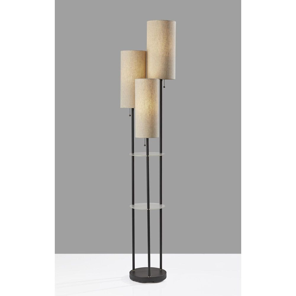 Adesso Trio Shelf Floor Lamp in Black and Antique Brass, , large