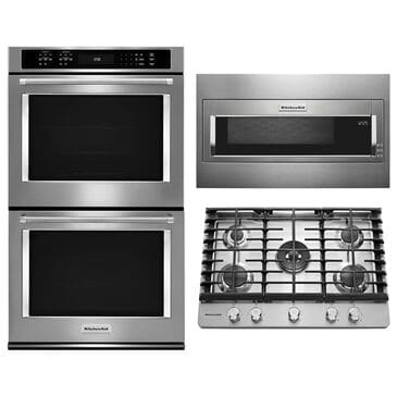 """Whirlpool 3-Piece Kitchen Package with 30"""" Built-In Convection Double Wall Oven and 19.125"""" Microwave in Stainless Steel, , large"""