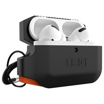 Urban Armor Gear Silicone Case for Apple Airpods Pro in Black and Orange, , large