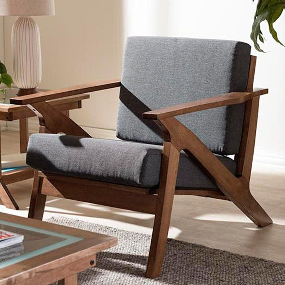 Baxton Studio Cayla 1-Seater Lounge Chair with Walnut Frame in Grey, , large