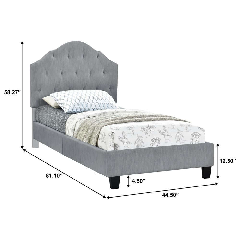 Accentric Approach Twin Upholstered Tufted Bed in Gray, , large