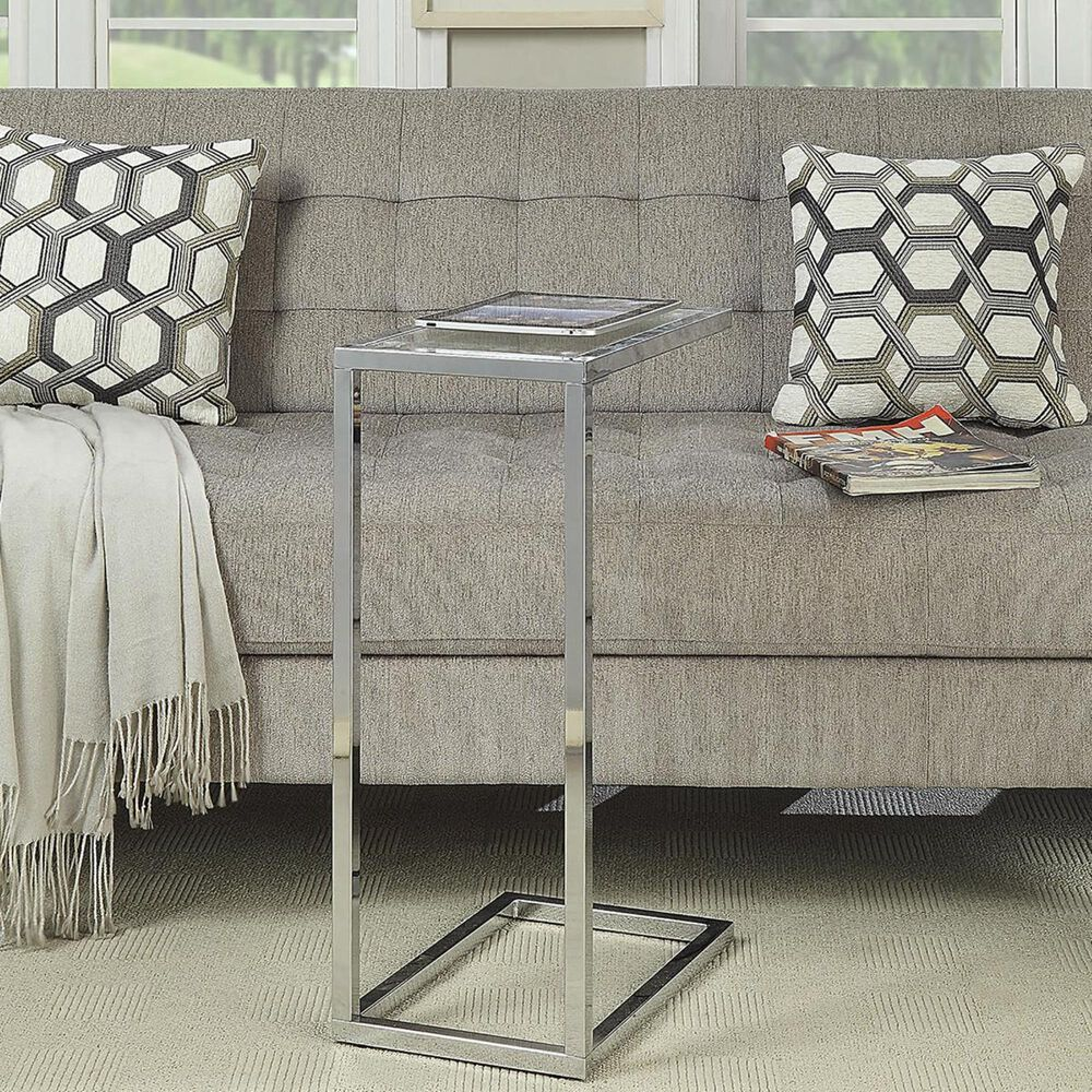 Carolina Cottage Kelli Accent C Table in Tempered Glass and Chrome, , large