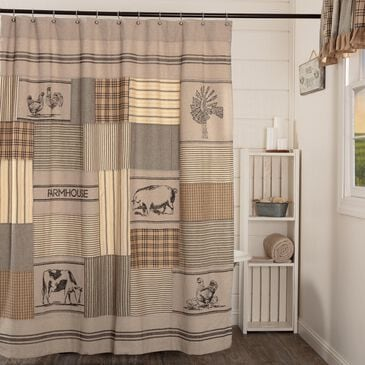 VHC Sawyer Mill Farmhouse Shower Curtain in Charcoal Grey, , large