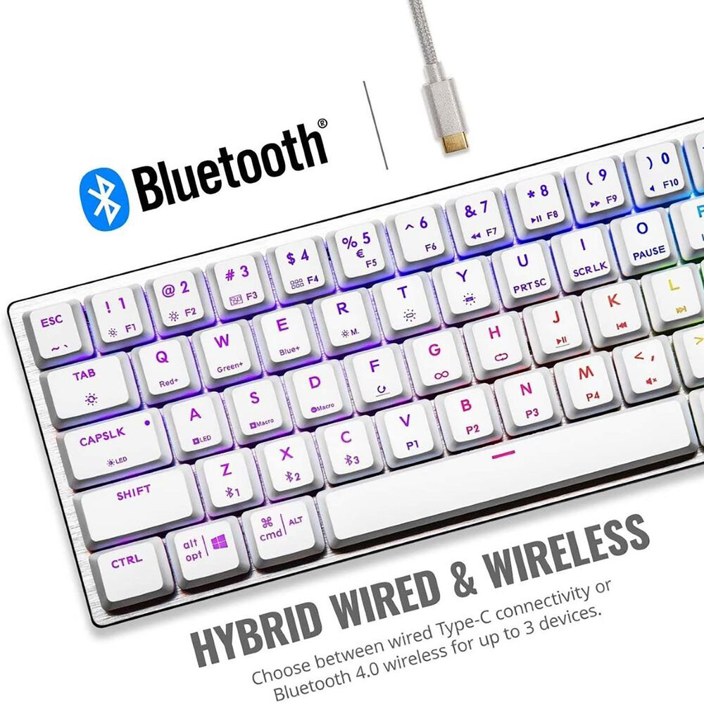 Cooler Master SK622 Silver White Wireless 60% Mechanical Keyboard with Low Profile Red Switches, New and Improved Keycaps, , large