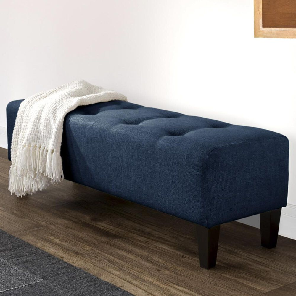 CorLiving Rosewell Accent Bench in Navy Blue, , large