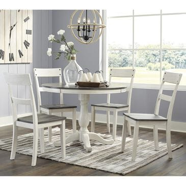 Signature Design by Ashley Nelling 5-Piece Dining Set in White and Dark Brown Oak, , large