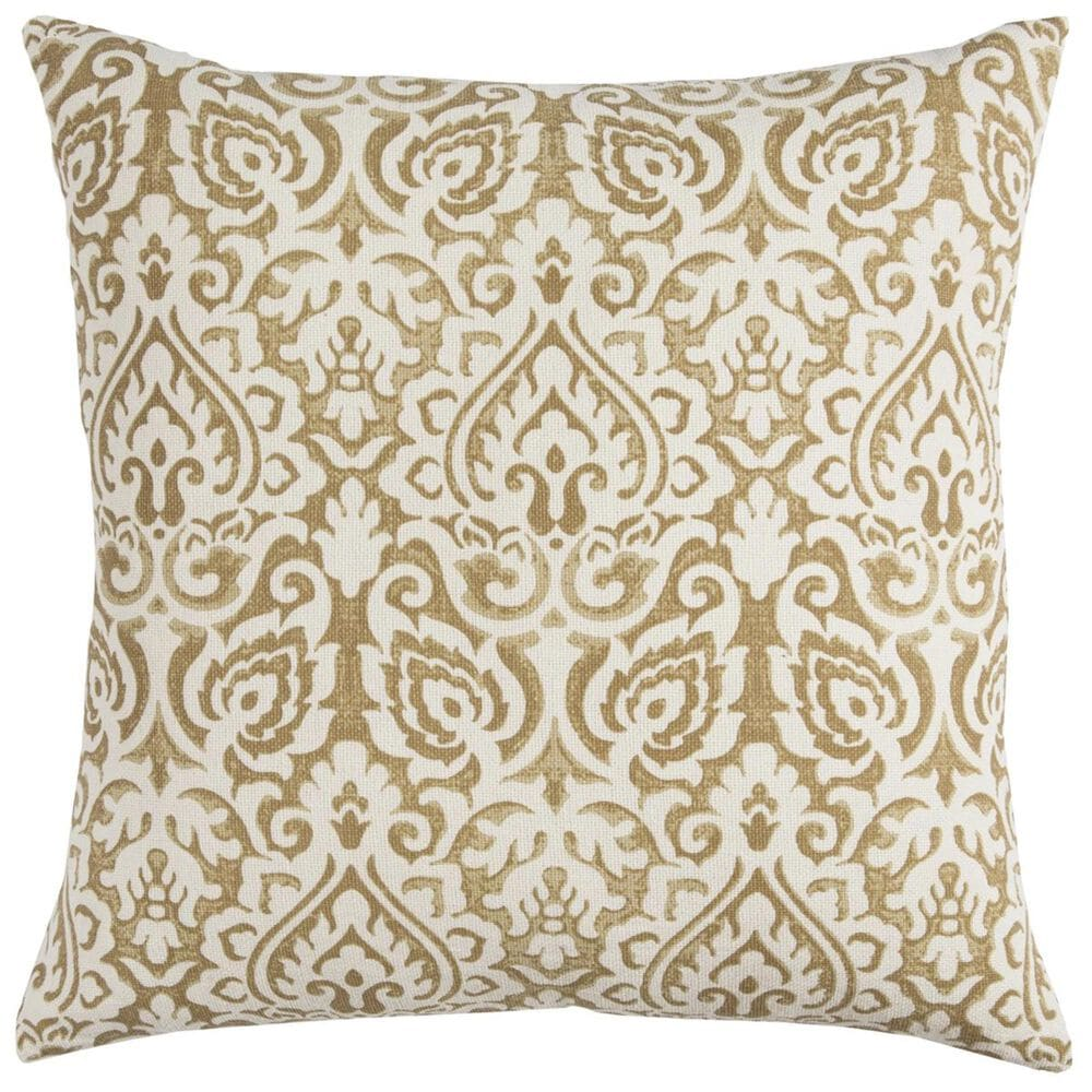 """Rizzy Home 22"""" x 22"""" Poly-Fill Pillow in Gold and White, , large"""