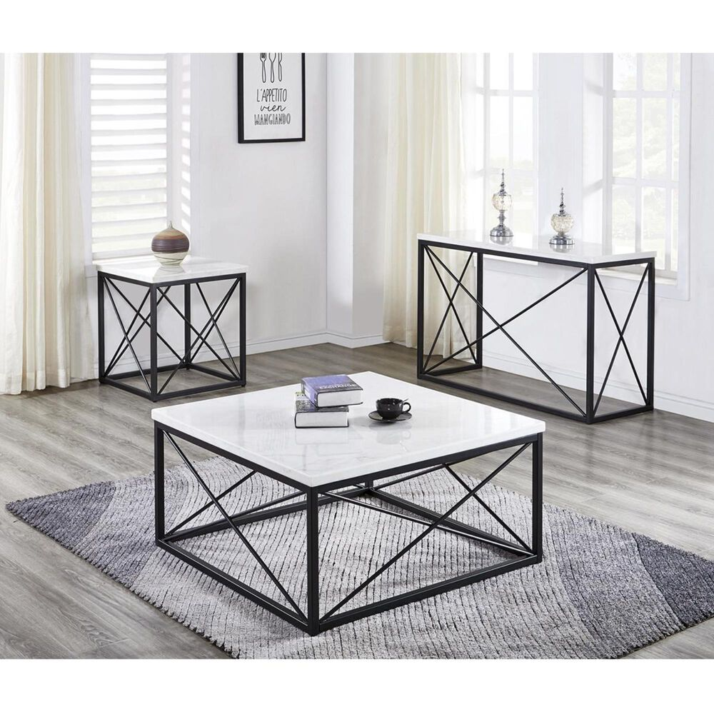 Crystal City Skyler Cocktail Table in White Marble, , large