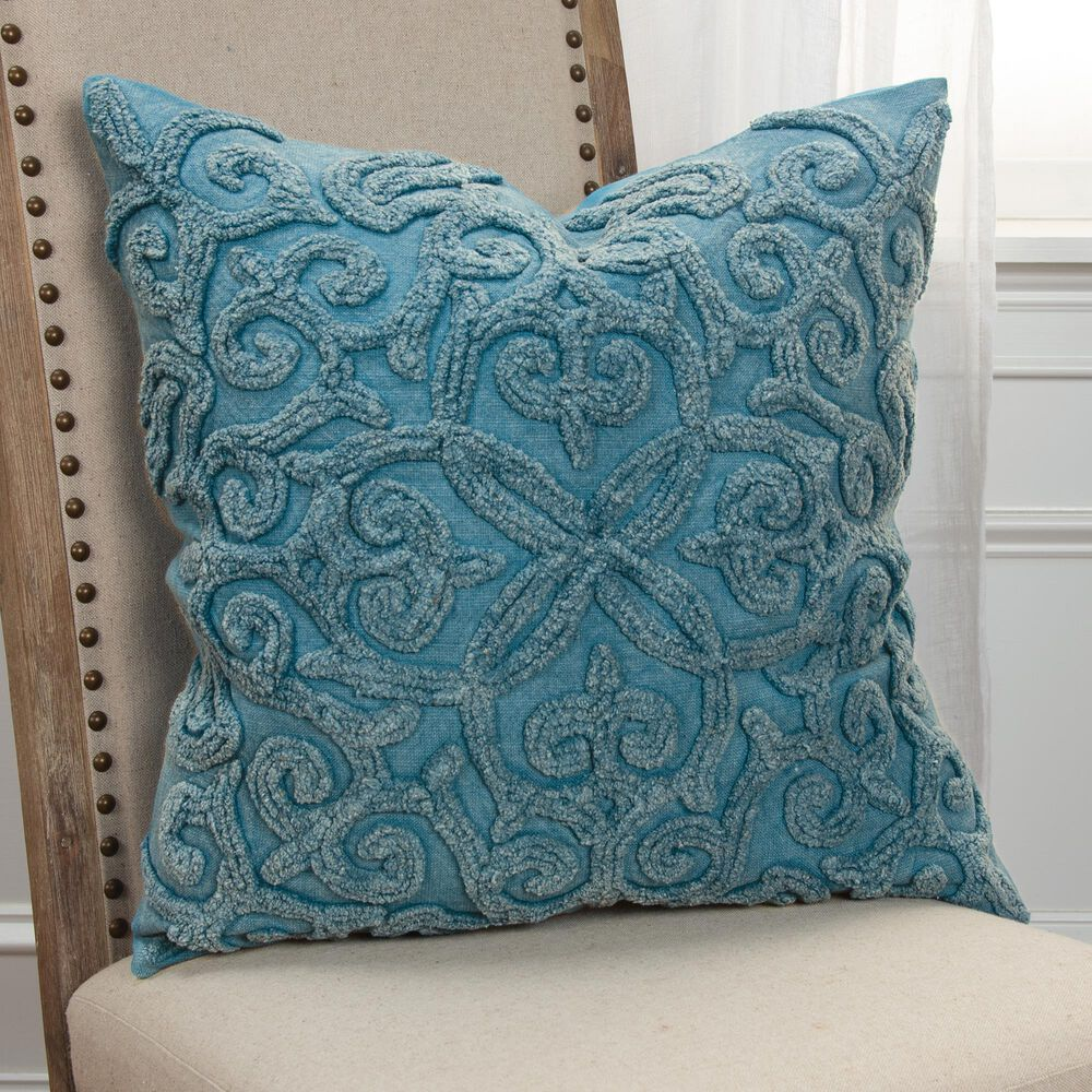 """Rizzy Home Solid 20"""" Down Filled Pillow in Indigo, , large"""