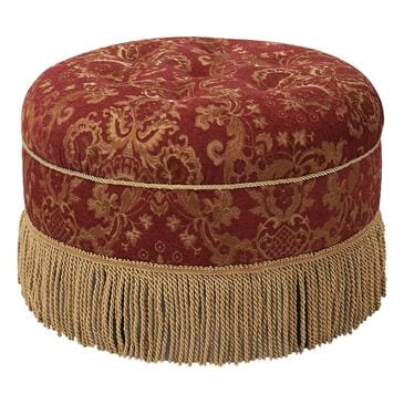 Jennifer Taylor Home Yolanda Tufted Decorative Round Ottoman Red in Gold, , large