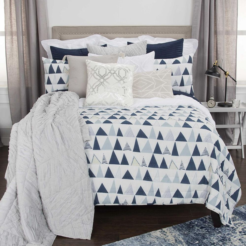 """Rizzy Home Flint 106"""" x 92"""" Quilt Sham in Blue, , large"""
