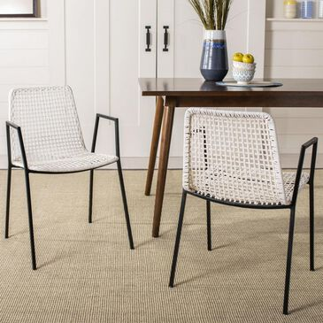 Safavieh Wynona Dining Chair in White and Black (Set of 2), , large