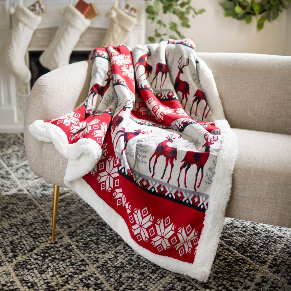 """Safavieh Holiday Prancer 50"""" x 60"""" Throw in Red, , large"""