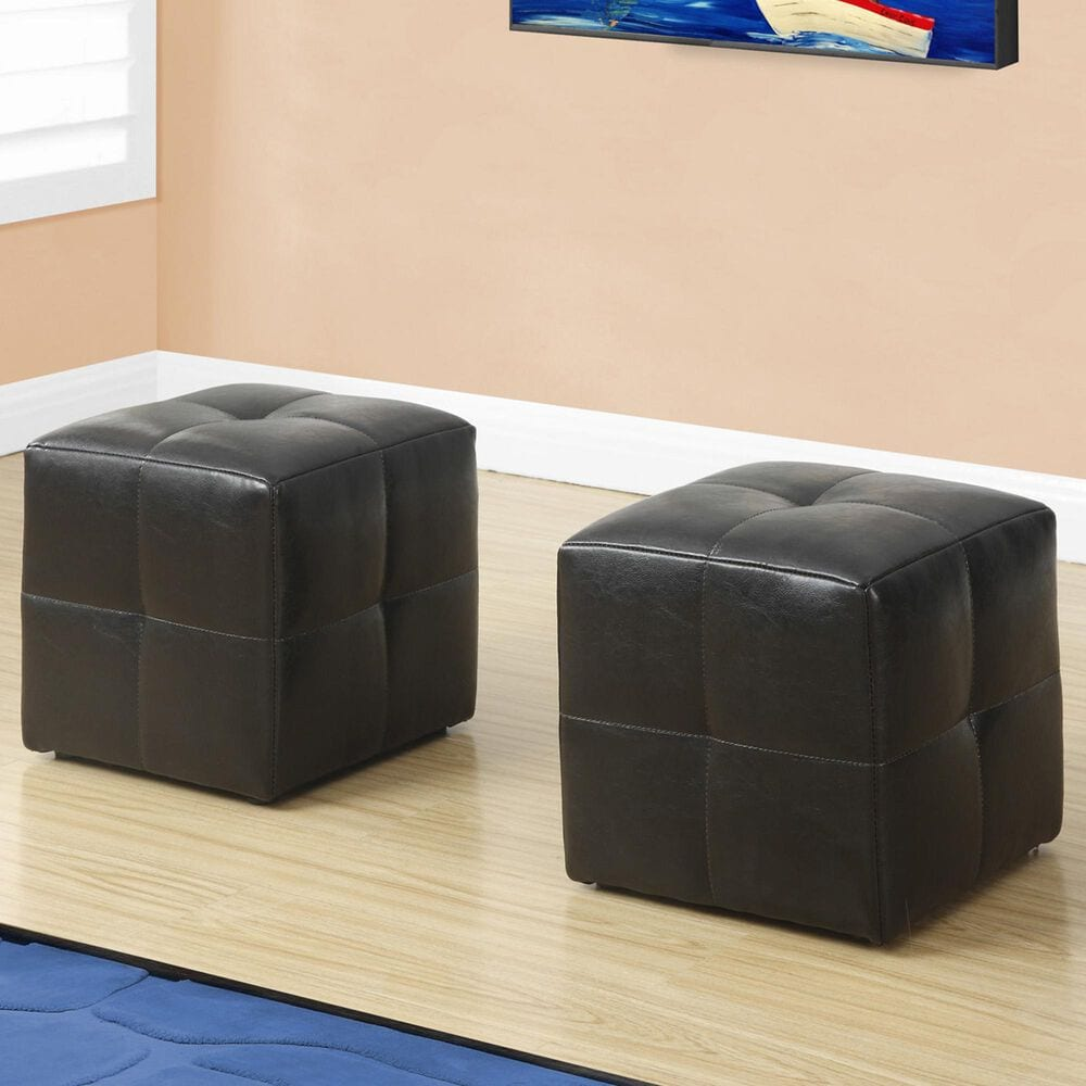 Monarch Specialties 2-Piece Ottoman Set in Brown, , large