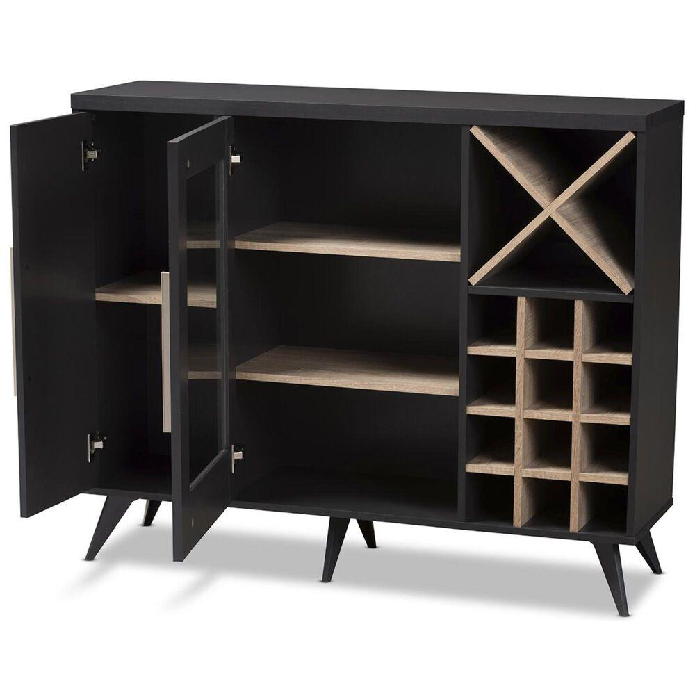 Baxton Studio Pietro Wine Cabinet in Dark Grey/Oak Brown, , large