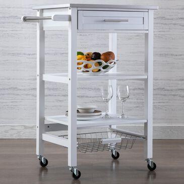 Boraam Industries Hennington Kitchen Cart in White Wash, , large
