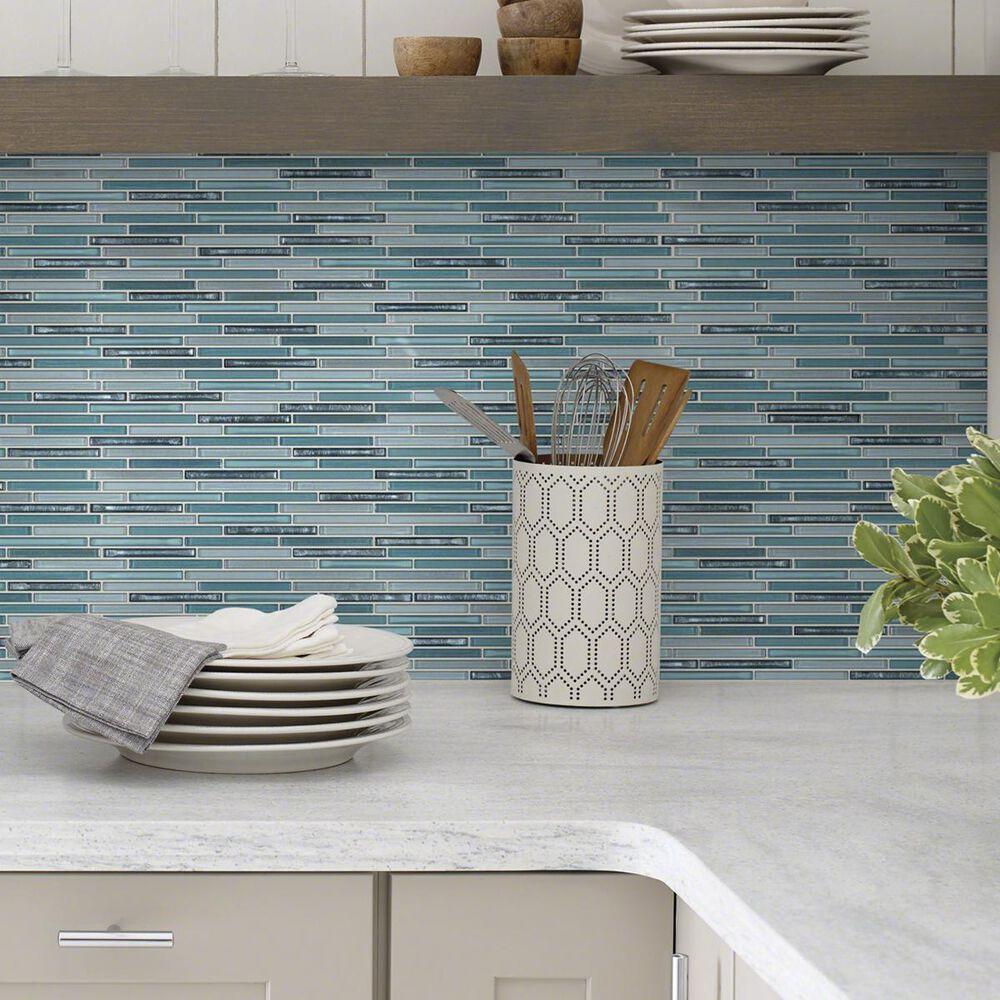"""Shaw Molten Linear Hydra 13.27"""" x 11.85"""" Glass Mosaic Sheet, , large"""