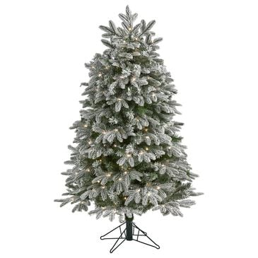 Nearly Natural Inc 5' Flocked Colorado Mountain Fir Artificial Christmas Tree with 300 Warm White Microdot LED Lights, , large