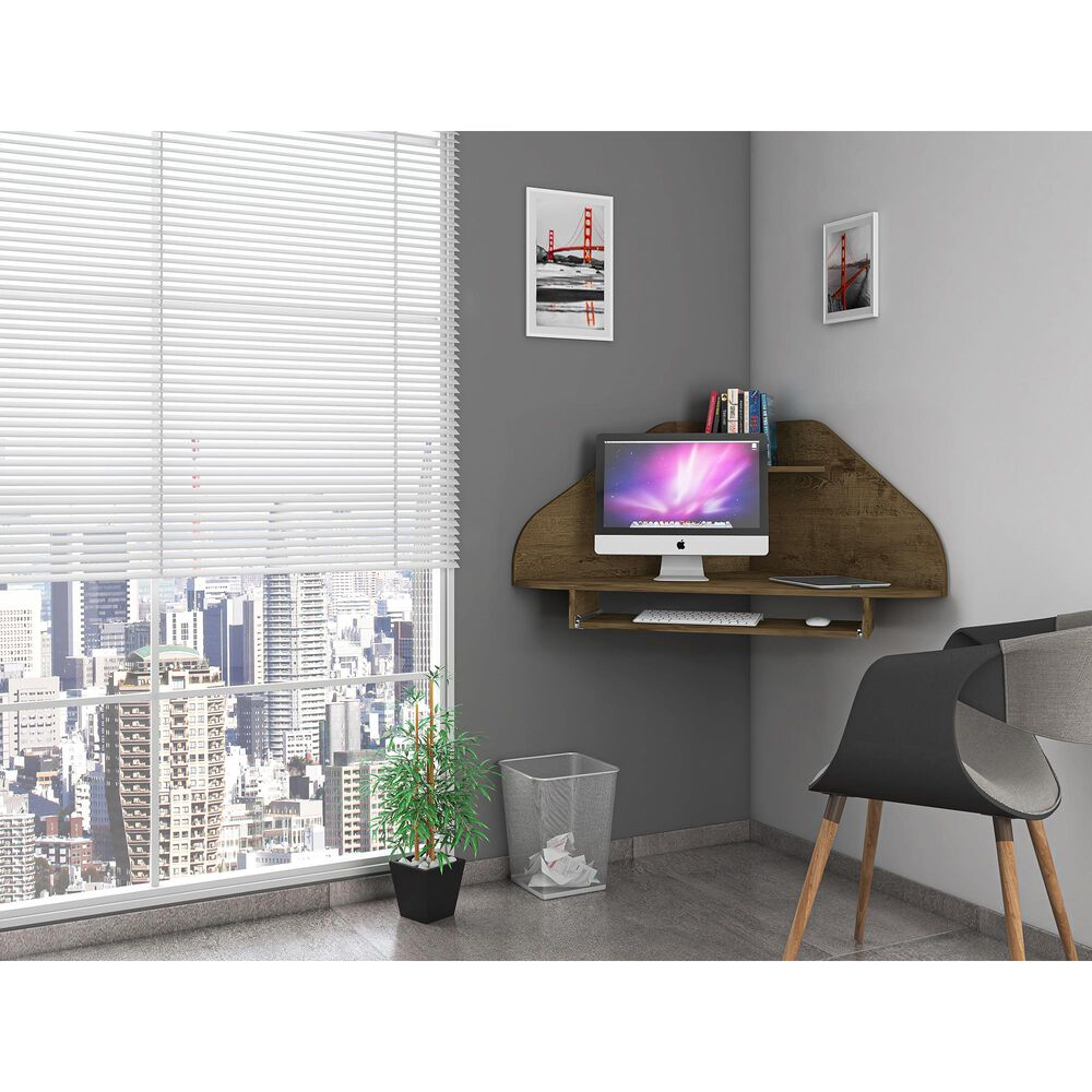Dayton Bradley 4-Piece Sectional Cubicle Desk in Rustic Brown, , large
