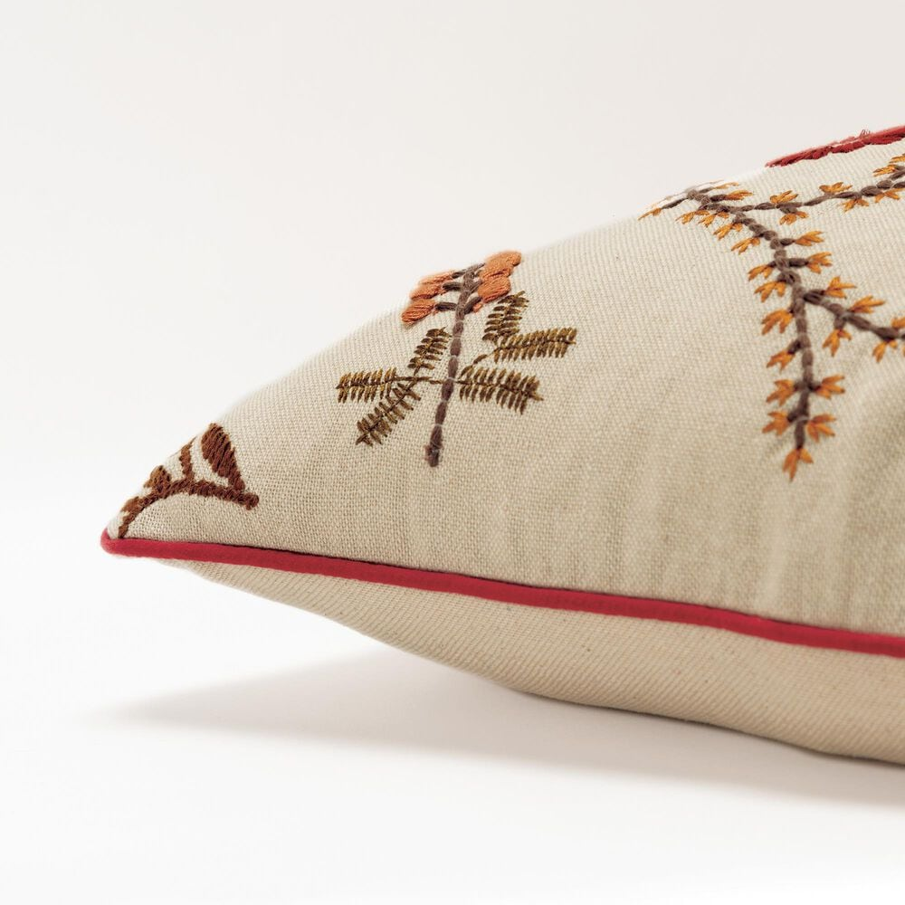 """Rizzy Home Floral 20"""" Pillow Cover in Natural and Tan, , large"""