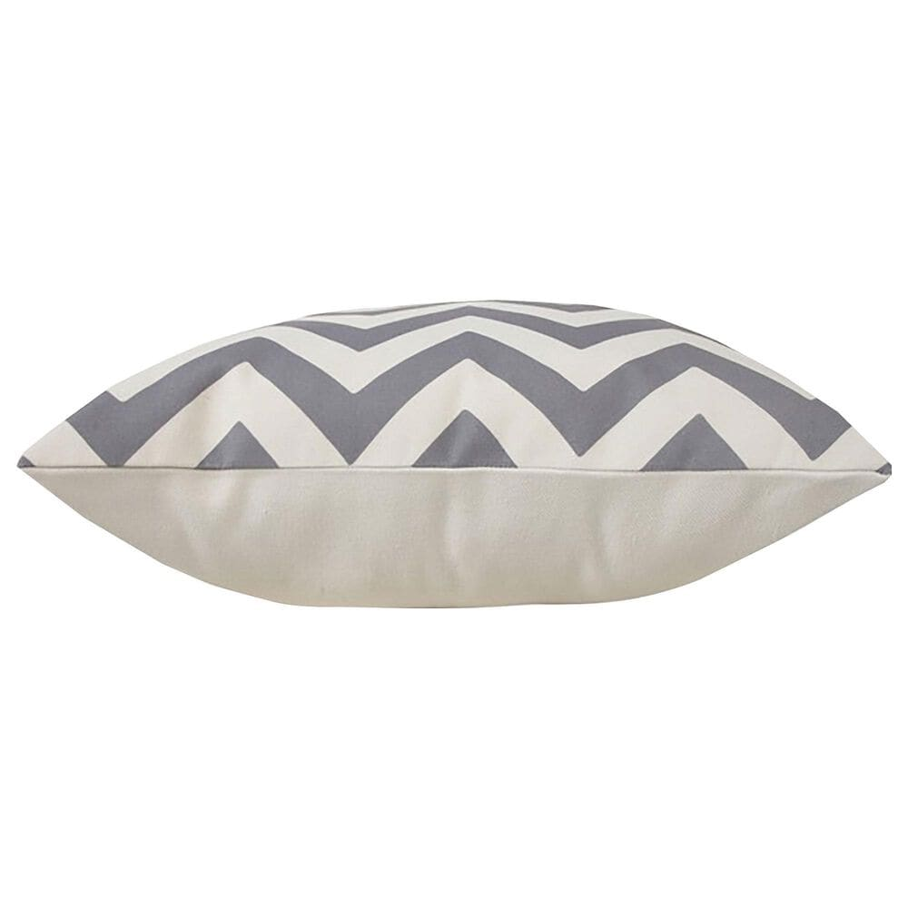 """L.R. RESOURCES 20"""" x 20"""" Chevron Outdoor Pillow in White and Gray, , large"""