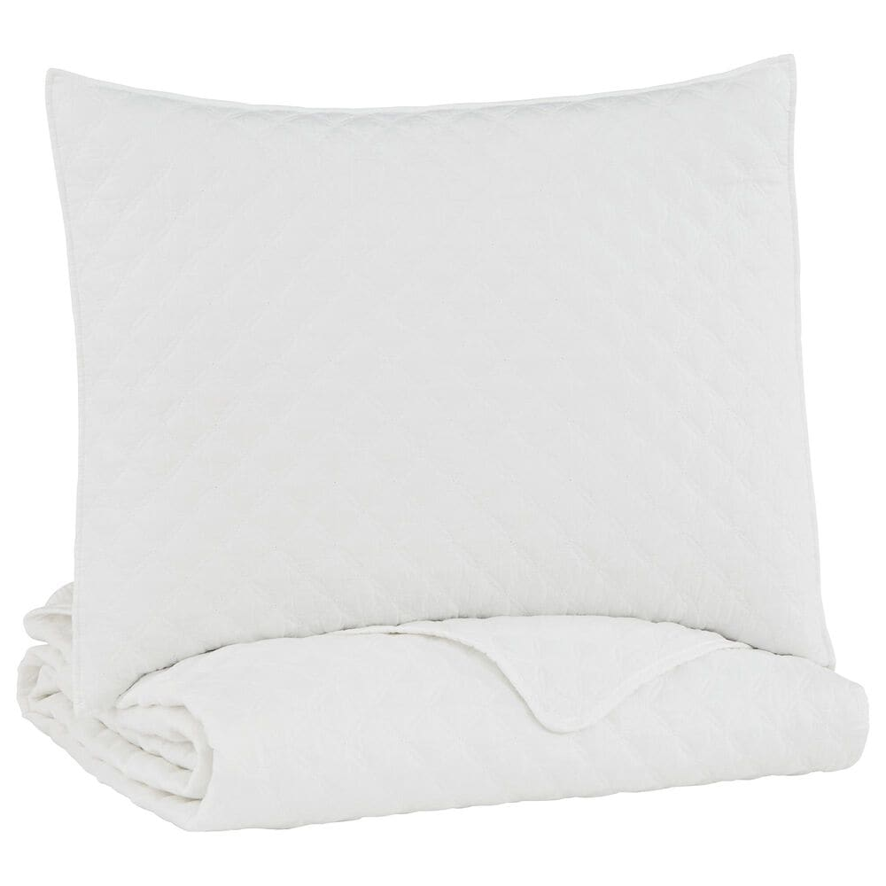 Signature Design by Ashley Ryter 2-Piece Twin Coverlet Set in White, , large