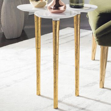 Safavieh Aria Accent Table in White and Gold, , large