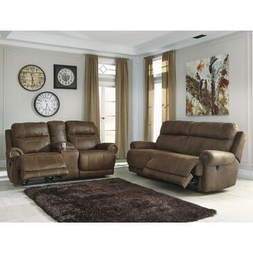Signature Design by Ashley Austere Reclining Sofa and Loveseat in Brown, , large