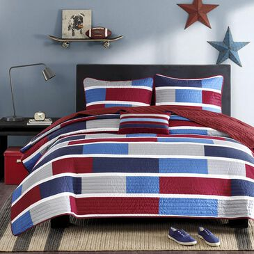 Hampton Park Mi Zone Bradley 4-Piece Full/Queen Coverlet Set in Navy/Red, , large