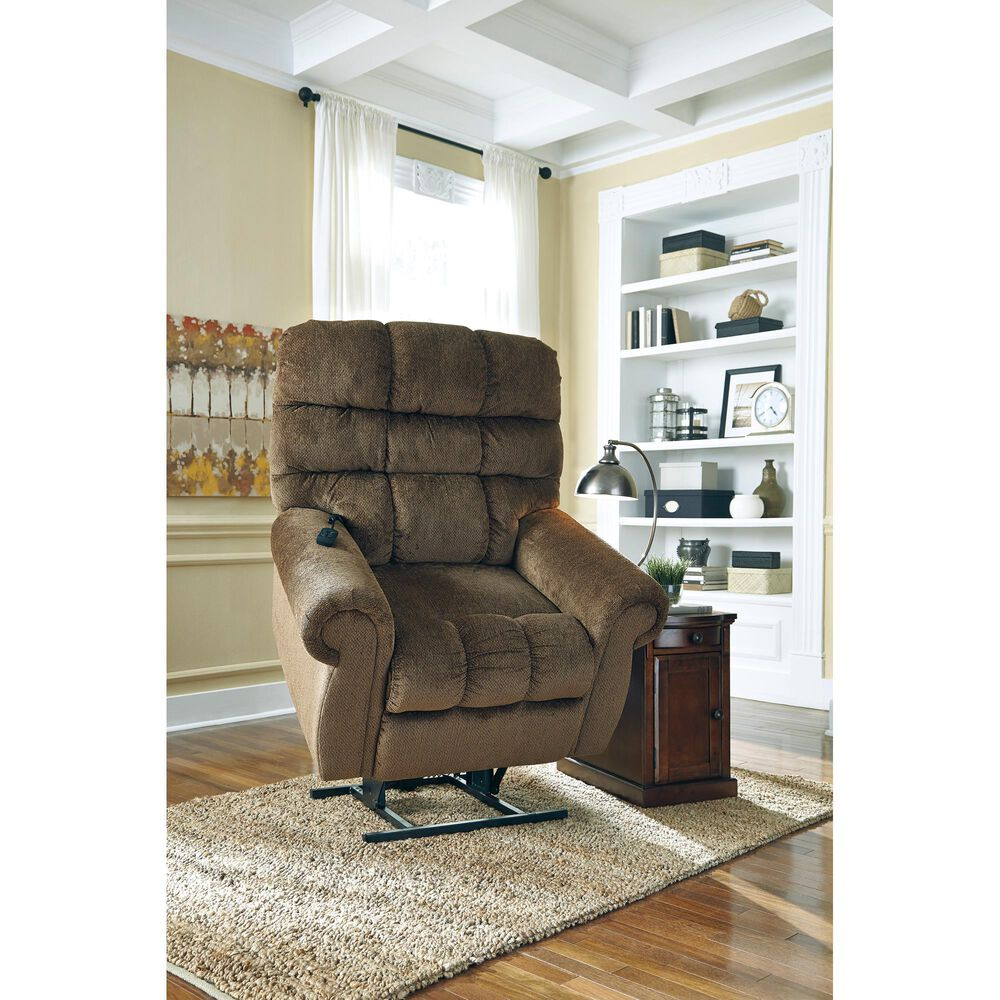 Signature Design by Ashley Ernestine Power Lift Recliner in Truffle, , large