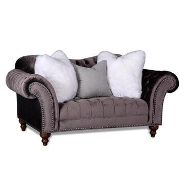Aria Designs Lorraine Loveseat in Gray Velvet, , large