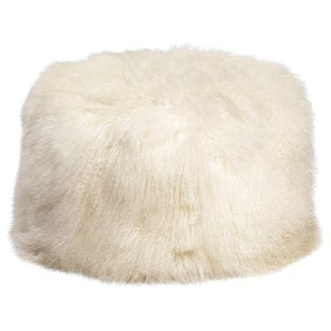 Blue Sun Designs Mohair Pouf in White Fur, , large