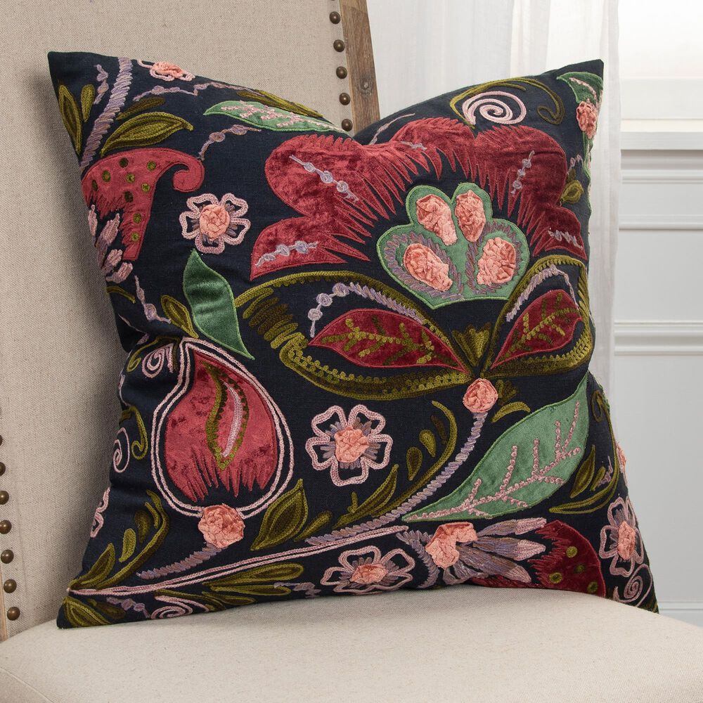 """Rizzy Home Floral 20"""" Pillow Cover in Black and Multicolor , , large"""
