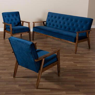 Baxton Studio Sorrento 3-Piece Living Room Set in Navy Blue/Brown, , large