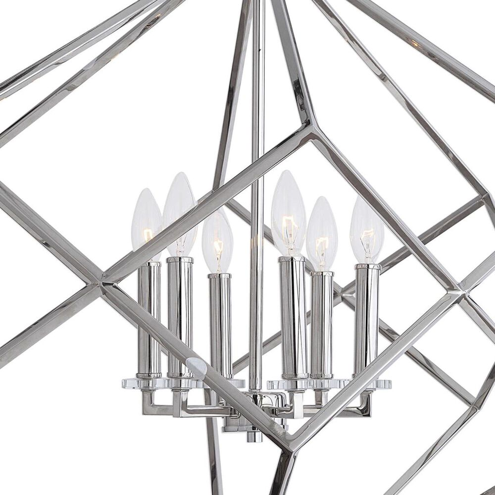 Uttermost Euclid 6 Light Cube Pendant in Polished Nickel, , large