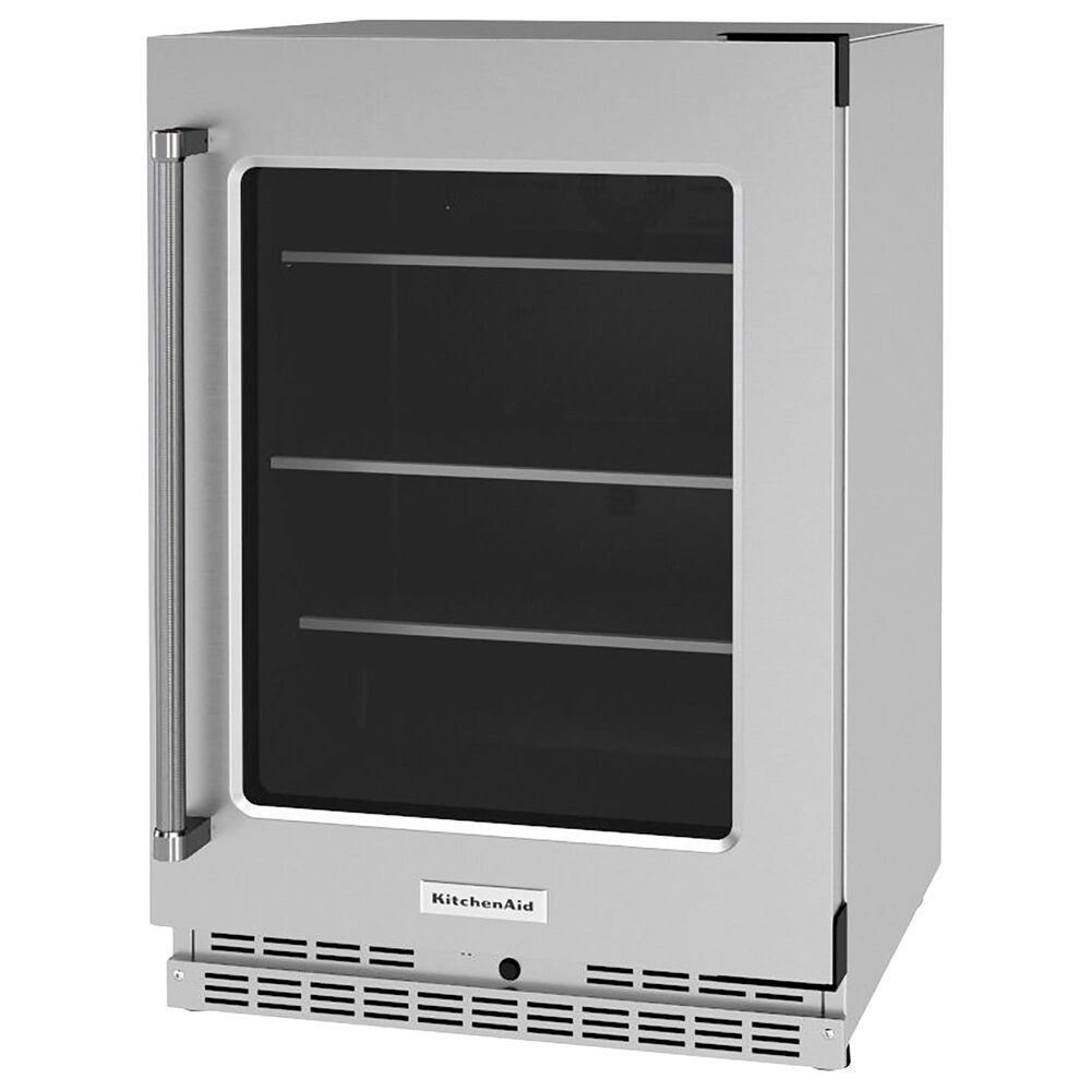 """KitchenAid 24"""" Undercounter Refrigerator with Glass Door in Stainless Steel, , large"""