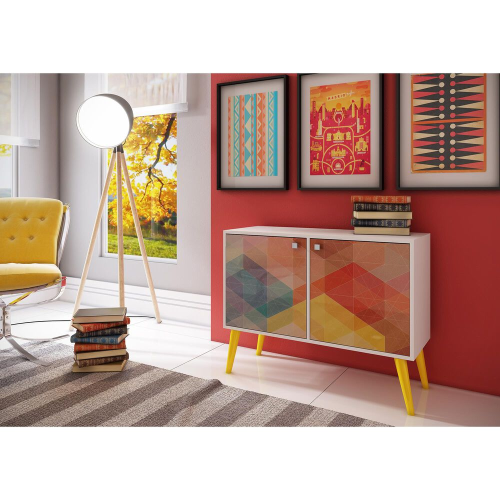 Dayton Accentuations 3-Shelf Side Table in White, Stamp, Yellow, , large