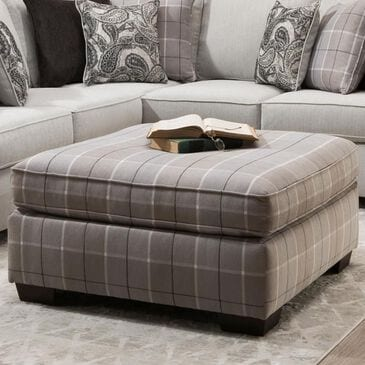 Northwestern Cooper Ottoman in Onyx, , large