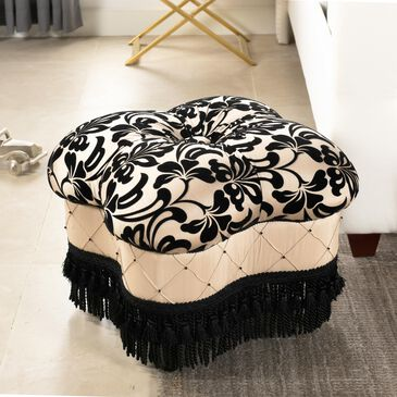 Jennifer Taylor Home Ellen Hand-Tufted Clover Ottoman in Black/Ivory, , large