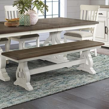 Hawthorne Furniture Drake Dining Bench in Rustic White and French Oak, , large