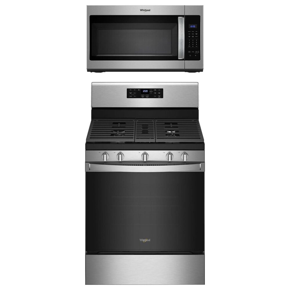 Whirlpool 2-Piece Kitchen Package with 5 Cu. Ft. Air Fry Gas Range and Microwave in Stainless Steel, , large