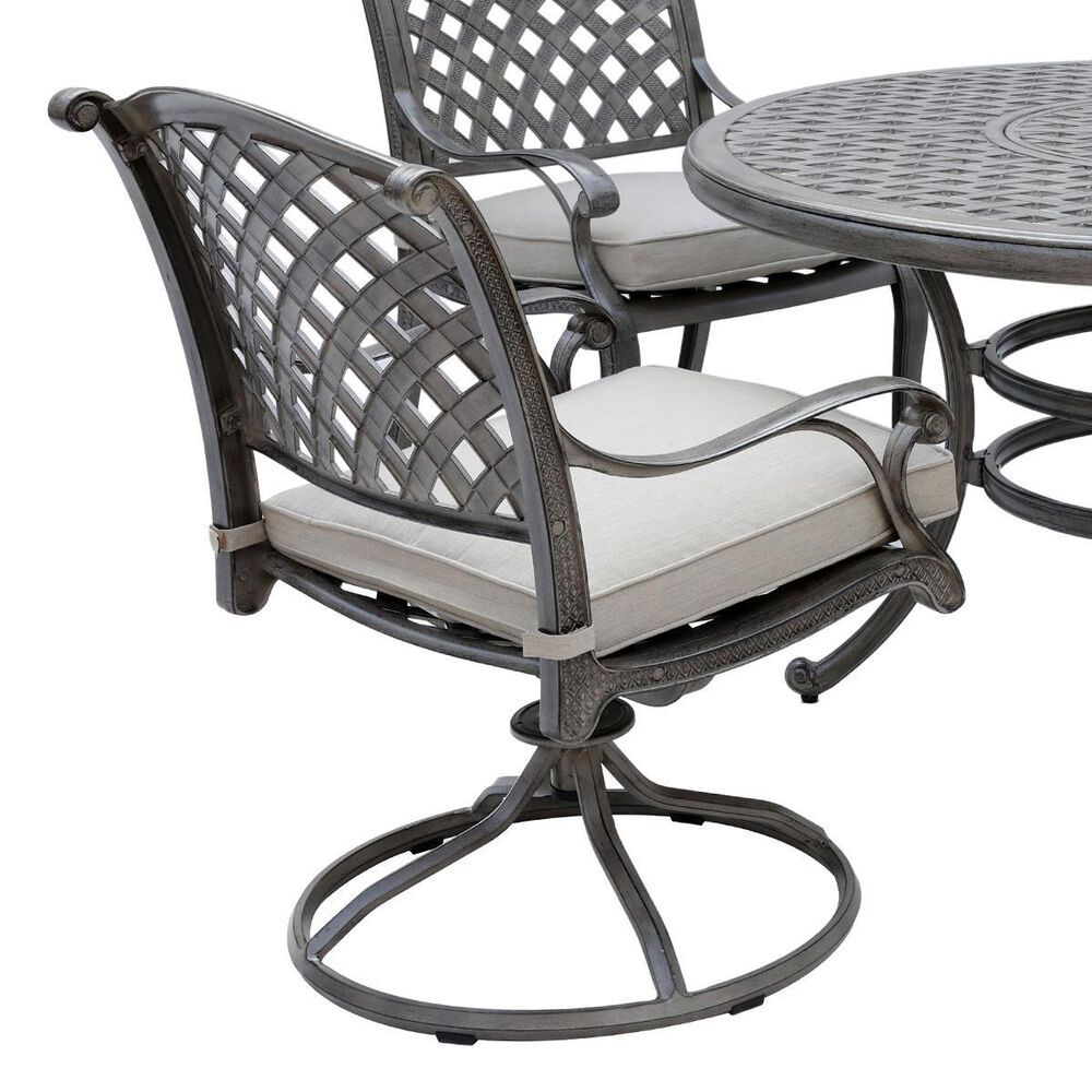World Source Macan 5-Piece Round Dining Set in Silver, , large