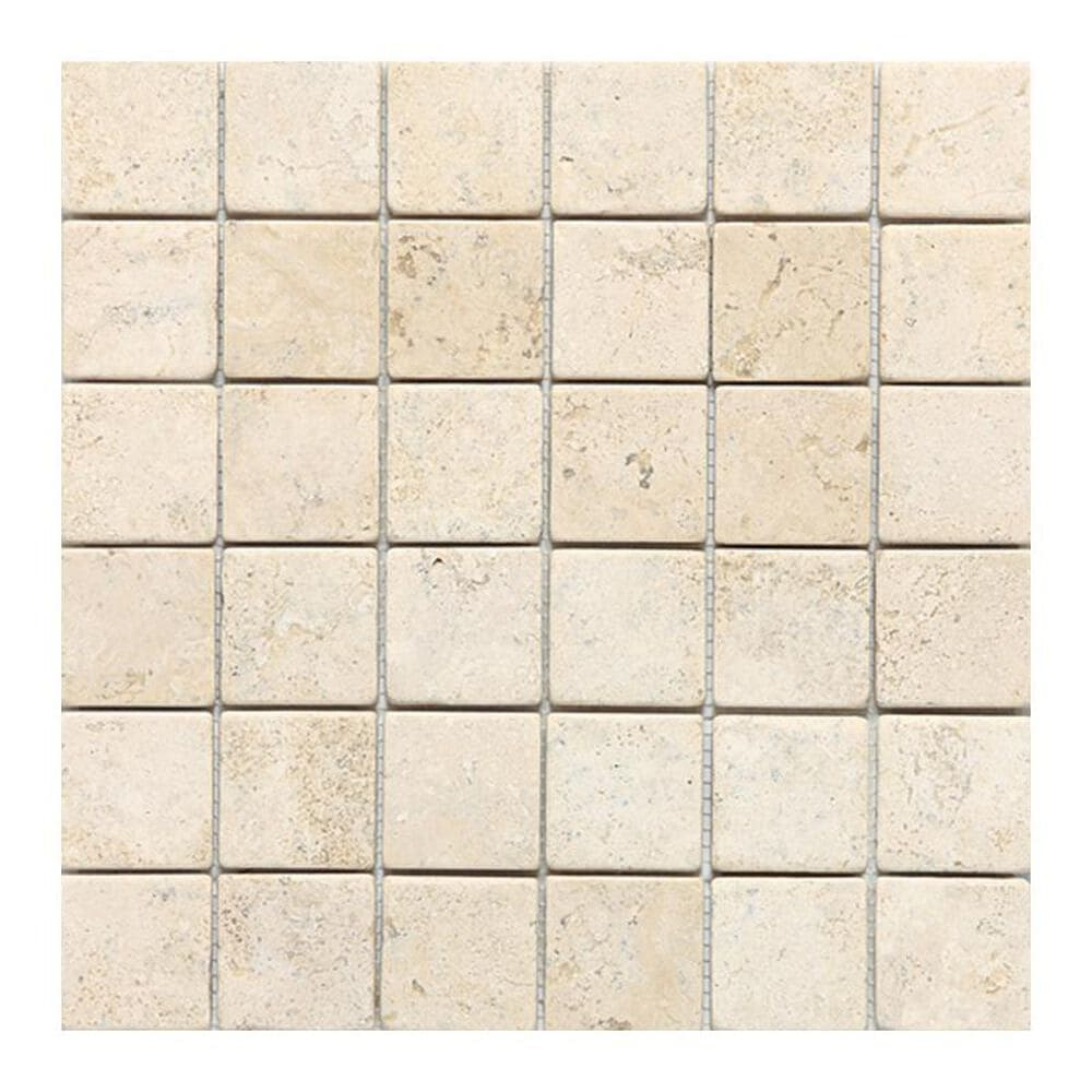 "Dal-Tile Travertine 2"" x 2"" Tumbled Mosaic Tile in Baja Cream, , large"