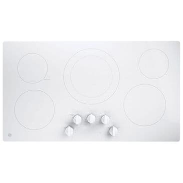 "GE Appliances 36"" Built-In Knob Control Electric Cooktop in White, , large"