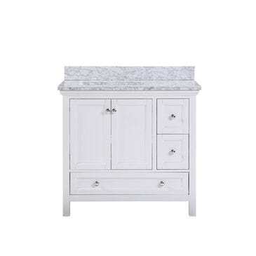 "Aurafina Cunningham 36"" Vanity with Top and Sink in Plantation White, , large"