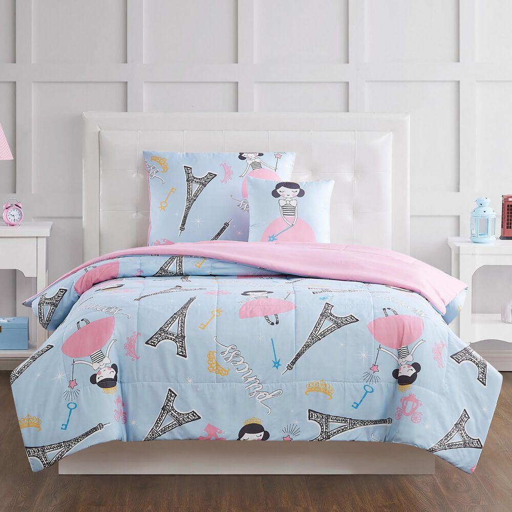 Pem America My World Paris Princess 4-Piece Full Comforter Set in Blue/Pink, , large