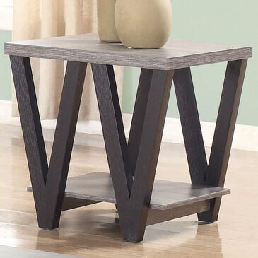Pacific Landing Higgins V-Shaped End Table in Black and Antique Grey, , large